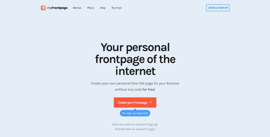 myFrontpage screenshot