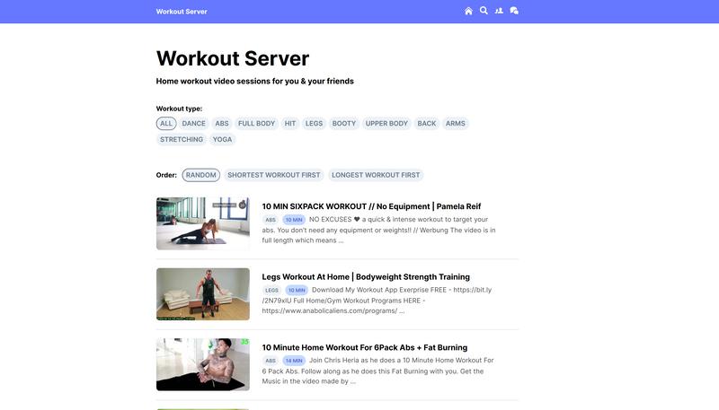 Workout Server screenshot